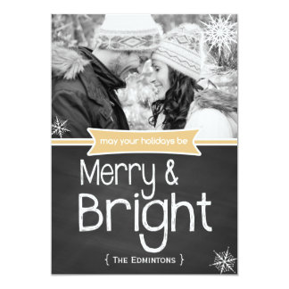 Merry Bright Yellow Chalkboard Holiday Flat Card