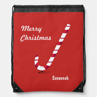 Merry Candy Cane | Drawstring Backpack