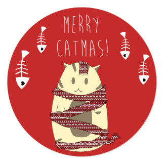 Merry Catmas! Christmas Card for Cat Lovers 13 Cm X 13 Cm Square Invitation Card