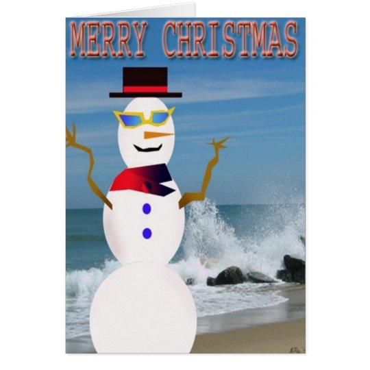 merry chrismas on the beach snowman card