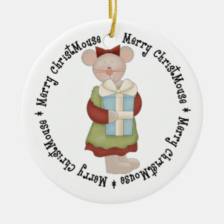 Merry ChrisMouse with Present Ceramic Ornament