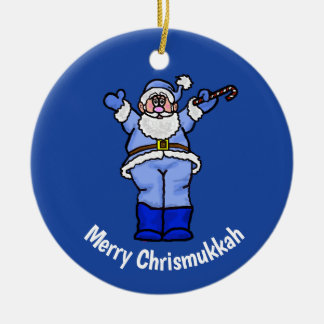 Merry Chrismukkah Santa Orament Ceramic Ornament