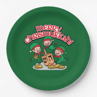 Merry Chrismukkah with Elves and Dreidels Paper Plate