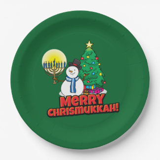 Merry Chrismukkah with Snowman and Menorah Paper Plate