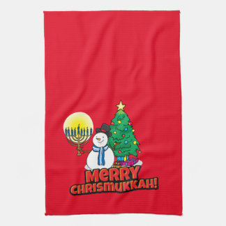 Merry Chrismukkah with Snowman and Menorah Tea Towel