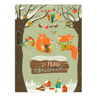 merry christma Illustration card foxes Postcard