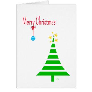 Merry Christmas, 1 Trees, 1 Blue Ornament, Stars Card