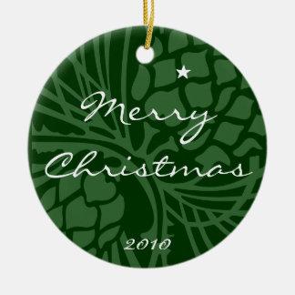 Merry Christmas 2010 Round Ceramic Decoration