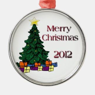 Merry Christmas 2012 Silver-Colored Round Decoration