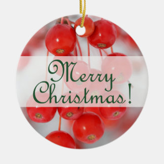 Merry Christmas 2014 Round Red Berries Ornament