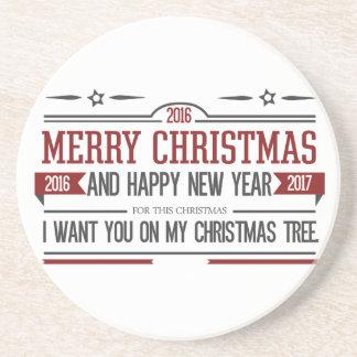 Merry Christmas 2016 Drink Coaster