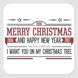 Merry Christmas 2016 Square Sticker