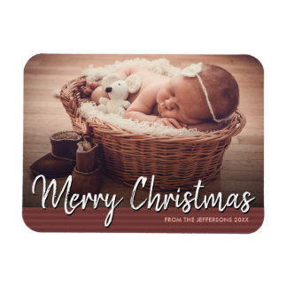Merry Christmas 2017 Baby Photo Holiday Magnet