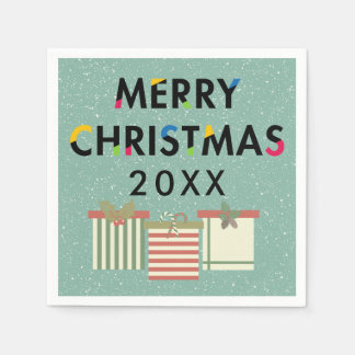 Merry Christmas 20XX Template Gift Boxes Disposable Serviette
