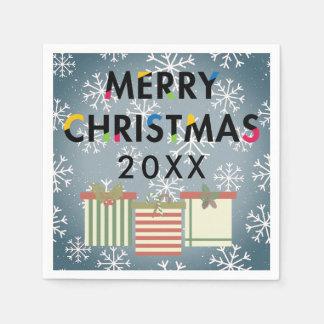 Merry Christmas 20XX Template SnowflakesGift Boxes Disposable Serviette