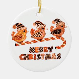 Merry Christmas 2 Round Ceramic Decoration