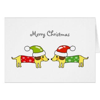 Merry Christmas 2 sausage dogs Card