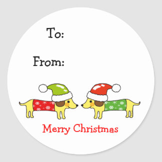 Merry Christmas 2 sausage dogs Classic Round Sticker