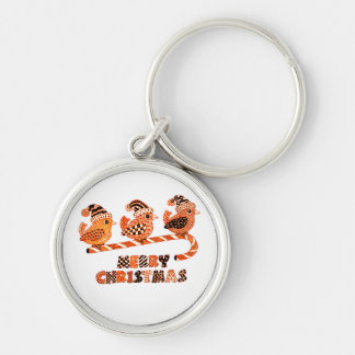 Merry Christmas 2 Silver-Colored Round Key Ring
