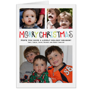 Merry Christmas 3+ photo Holiday Card Personalized