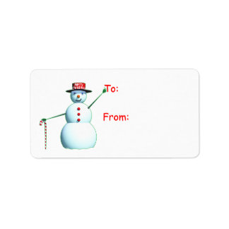 Merry Christmas 3D Snowman Label