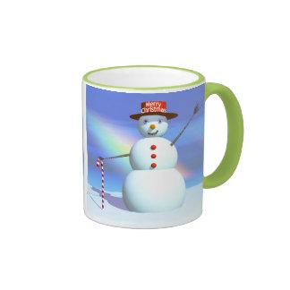 Merry Christmas 3D Snowman Ringer Mug