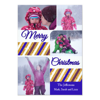 Merry Christmas 4 Photos Personalized Card