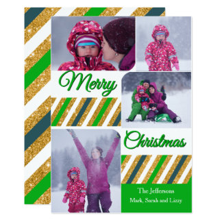 Merry Christmas 4 Photos Personalized Card 13 Cm X 18 Cm Invitation Card