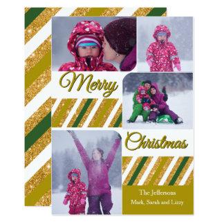 Merry Christmas 4 Photos Personalized Card 13 Cm X 18 Cm Invitation Card