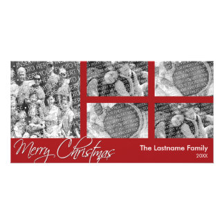 Merry Christmas - 5 photo collage - Photo Card Template