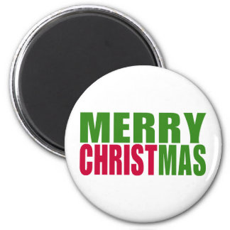 Merry Christmas 6 Cm Round Magnet