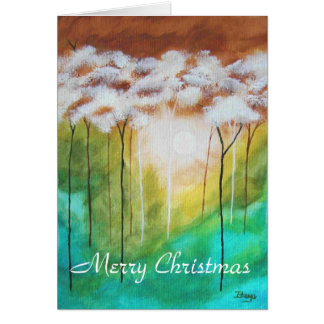 Merry Christmas Abstract Trees Landscape Art Cards