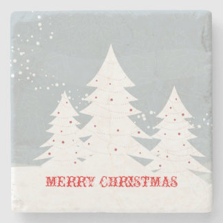 Merry Christmas Abstract White Christmas Trees Stone Beverage Coaster