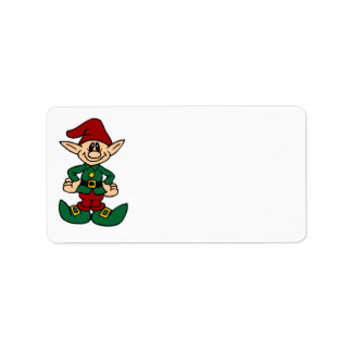 Merry Christmas Address Labels Cute Elf