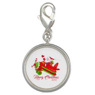 Merry Christmas AirplaneSanta Silver Plate Charm