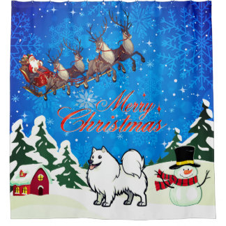 Merry Christmas American Eskimo Dog With Santa Shower Curtain