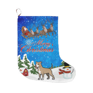 Merry Christmas American Pitbull Terrier Large Christmas Stocking