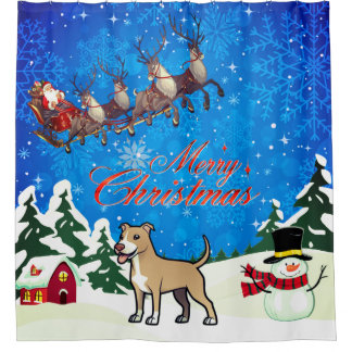 Merry Christmas American Pitbull Terrier Shower Curtain