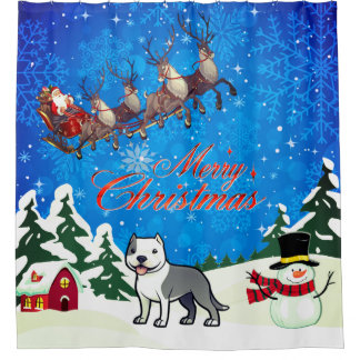 Merry Christmas American Staffordshire Terrier Shower Curtain