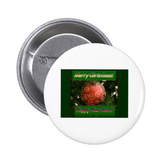 Merry Christmas amp Happy New Year Pinback Button