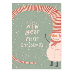 Merry Christmas And A Happy New Year Cartoon Post Cards