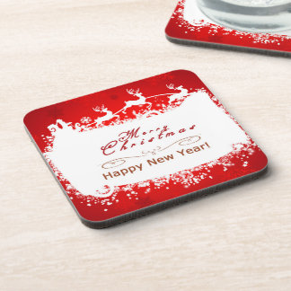 merry christmas and happy new year beverage coaster