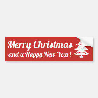 Merry Christmas and Happy New Year bumper sticker
