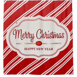 Merry Christmas And Happy New Year Candy Cane Shower Curtain