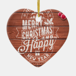 Merry Christmas and Happy New Year design Ceramic Ornament