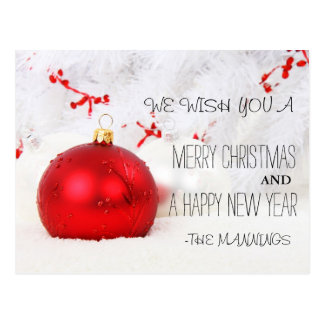 Merry Christmas and Happy New Year Ornament Postcard