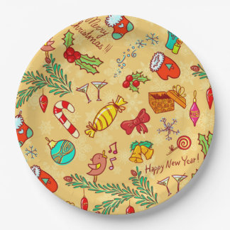 Merry Christmas And Happy New Year Paper Plate