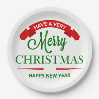 Merry Christmas and Happy New Year Party Plates