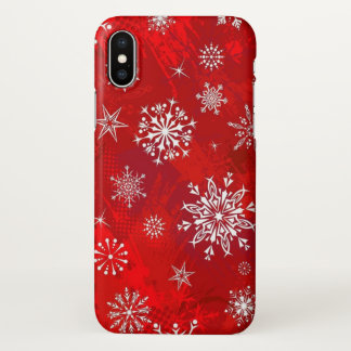merry christmas and happy new year red snowflake iPhone x case