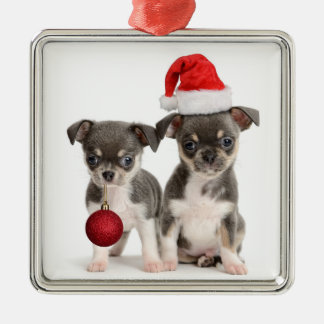 Merry Christmas And Happy New Year Silver-Colored Square Decoration
